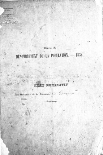 Recensement de la population en 1851.-Registre (1851-1856).