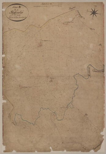 Plan cadastral parcellaire de 1811. Section B de la Rafenelié – Feuille 1