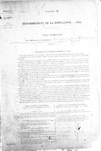 Recensement de la population en 1856.-Registre (1851-1856).