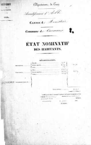 Recensement de la population en 1841.-Registre (1820-1846).