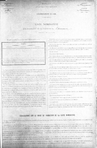 Recensement de la population en 1896.-Registre.